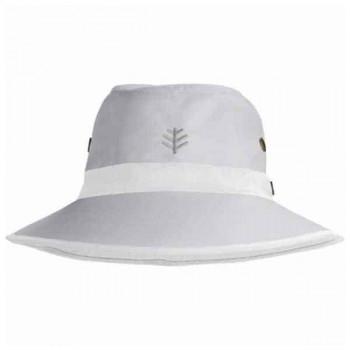 Mens 100/% Cotton Fedora Big Brim Sun Hat Green//Blue Stripe Band Excellent UPF