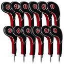 Craftsman Golf Black and Red Leather and Neoprene Iron Headcovers